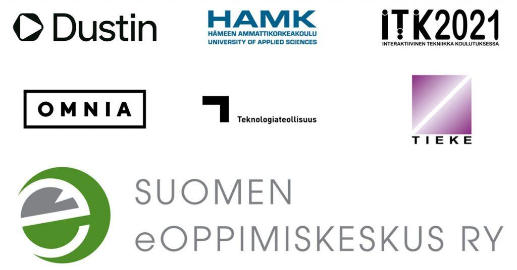 eEemeli-kilpailun 2021 kumppaneiden logot: Dustin, HAMK, ITK-päivät, Omnia, Tekonologiateollisuus ja TIEKE sekä järjestänä Suomen eOppimiskeskus