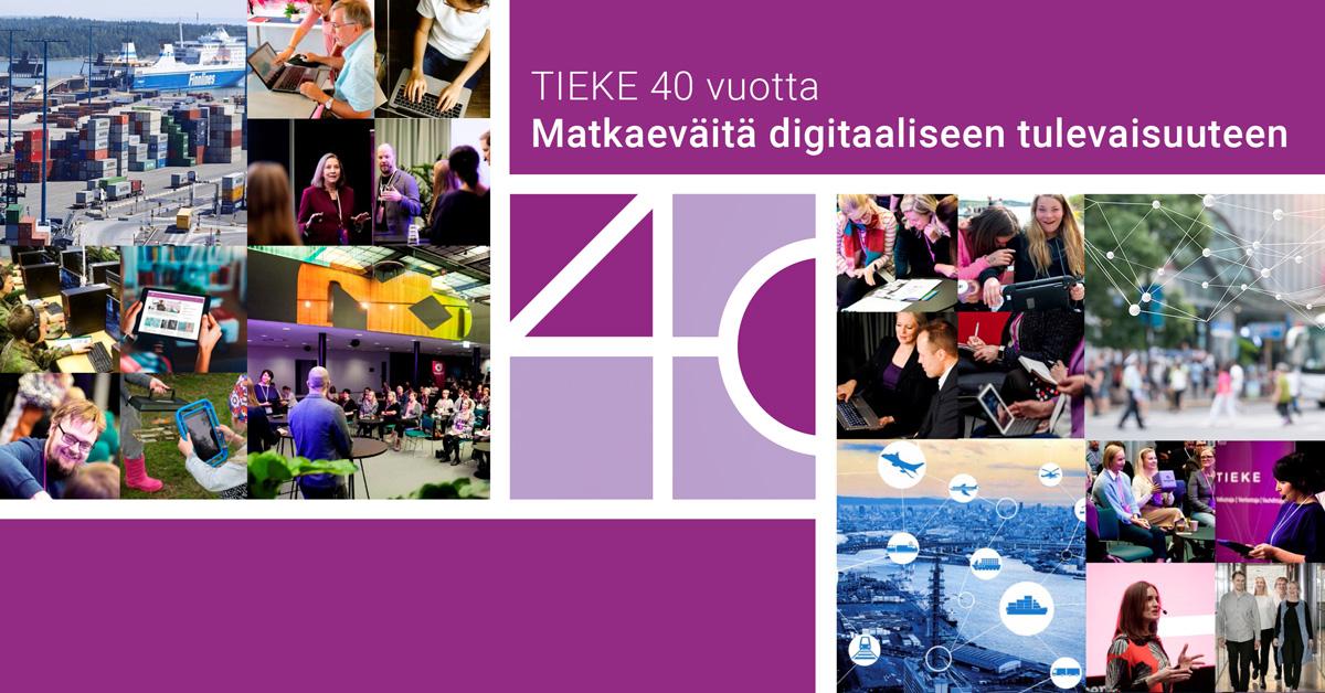 Kuvia TIEKEn 40-vuotisjuhlajulkaisusta tapahtumsita ja hankkeista