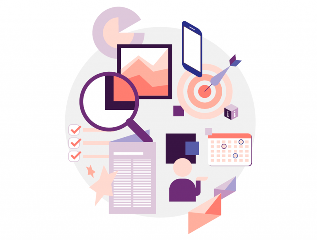Havainnekuva APIen eri käyttötarkoituksista: mobiililaitteita, taulukoita, suurennuslasi, listoja. Kuvan oikeudet Paper planes CC BY-ND 4.0, https://creativecommons.org/licenses/by-sa/4.0/legalcode